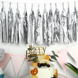 12 PCS Tissue Paper Balloon Tassel Garlands - Metallic Silver