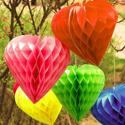 "12 Pack 16"" Ivory Heart Shaped Paper Honeycomb Lantern Hanging Decoration"