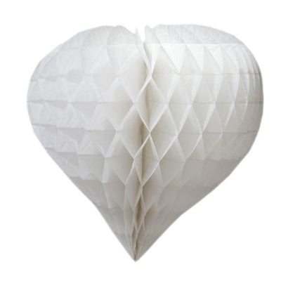 "16"" Heart-Shaped Honeycomb Paper Lantern 12pk - White"