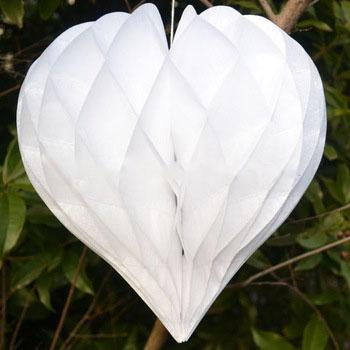 "12 Pack 16"" White Heart-Shaped Honeycomb Paper Lantern"