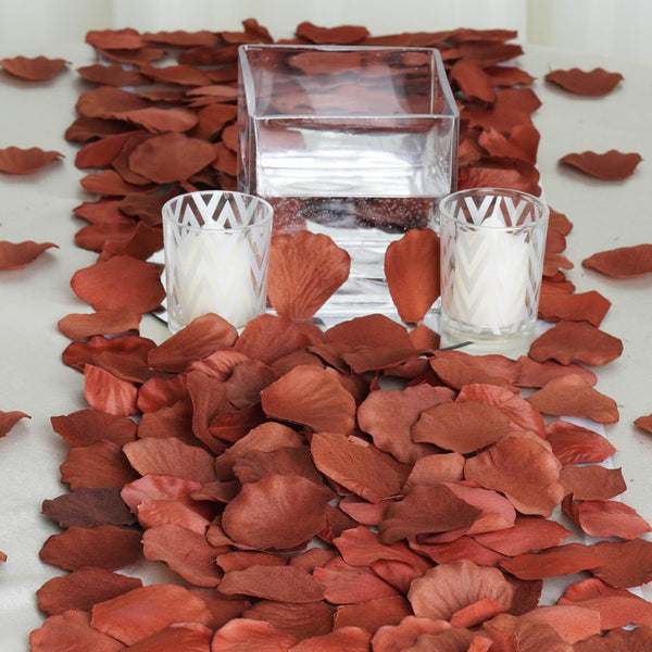 500 Chocolate Silk Rose Petals For Table Confetti