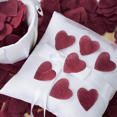 500 Pack | Burgundy | Silk Heart Confetti | Party Table Scatters