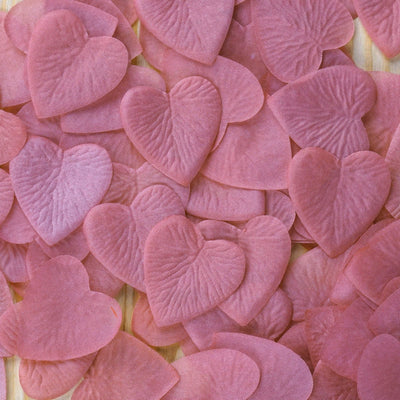 500 Pack | Rose Quartz | Silk Heart Confetti | Party Table Scatters