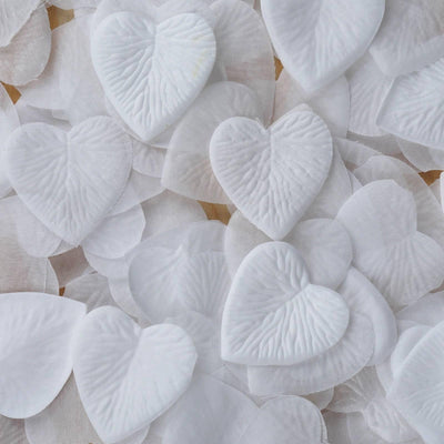 500 Pack | White | Silk Heart Confetti | Party Table Scatters