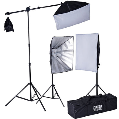 2400 Watt Softbox Photo Studio Continuous Lighting Kit With Boom Arm Hairlight Softbox