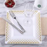 "10 Pack 10"" White Disposable Square Dinner Plates With Gold Hot Dots Rim"