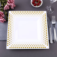 Square Dinner Plates With Gold Hot Dots Rim, Disposable Plates, Party Plates
