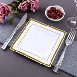 "12 Pack 7"" White Disposable Square Salad Dessert Plates With Shiny Gold Rim"