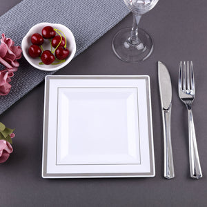 "10 Pack 7"" White Disposable Square Salad Dessert Plates With Shiny Silver Rim"