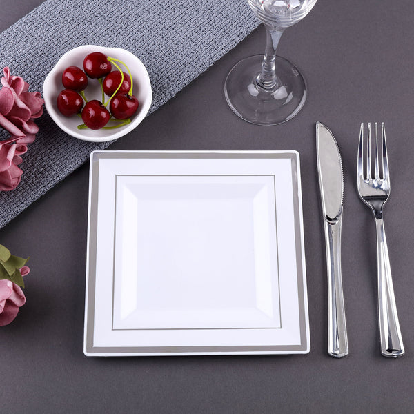 "10 Pack | 7"" White Disposable Plastic Square Salad Dessert Plates With Shiny Silver Rim"