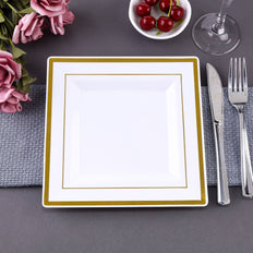 Square Dinner Plates With Shiny Gold Rim, White Dinner Plates, Disposable Plates