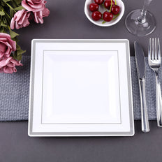 Square Dinner Plates With Shiny Silver Rim, White Dinner Plates, Disposable Plates