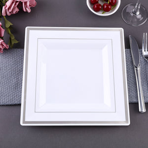 "10 Pack 11"" White Disposable Square Dinner Plates With Shiny Silver Rim"