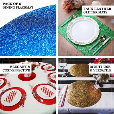 6 Pack Placemats, Iridescent Dining Table Mats, Round Faux Leather Glitter Placemat - 13 inch