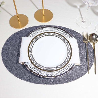 6 Pack Placemats, Charcoal Gray Dining Table Mats, Oval Faux Leather Glitter Placemat - 12x16inch