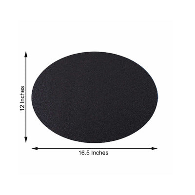 6 Pack Placemats, Black Dining Table Mats, Oval Faux Leather Glitter Placemat