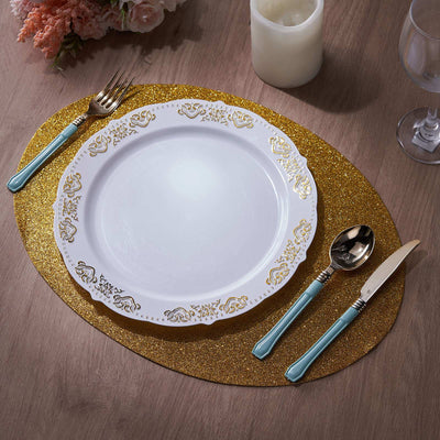 6 Pack Placemats, Gold Dining Table Mats, Oval Faux Leather Glitter Placemat