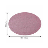 6 Pack Placemats, Pink Dining Table Mats, Oval Faux Leather Glitter Placemat - 12x16 Inchesv