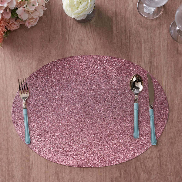 6 Pack Glitter Placemat Non Slip Table Placemats, Oval Faux Leather Placemats With Glitter - Pink