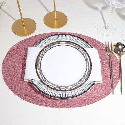 6 Pack Placemats, Pink Dining Table Mats, Oval Faux Leather Glitter Placemat - 12x16 Inches