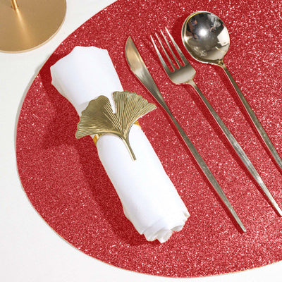 6 Pack Placemats, Red Dining Table Mats, Oval Faux Leather Glitter Placemat