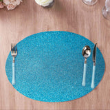 6 Pack Placemats, Turquoise Dining Table Mats, Oval Faux Leather Glitter Placemat