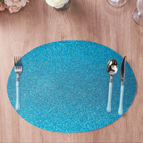 6 Pack Glitter Placemat Non Slip Table Placemats, Oval Faux Leather Placemats With Glitter - Turquoise