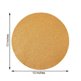 6 Pack Non Slip Table Placemats, Round Faux Leather Placemats With Glitter - Champagne