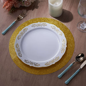 6 Pack Placemats, Gold Dining Table Mats, Round Faux Leather Glitter Placemat