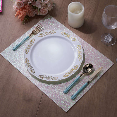 6 Pack Placemats, Iridescent Dining Table Mats, Rectangle Faux Leather Glitter Placemat