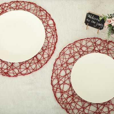 "6 Pack | 15"" Red Metallic String Woven Placemats 