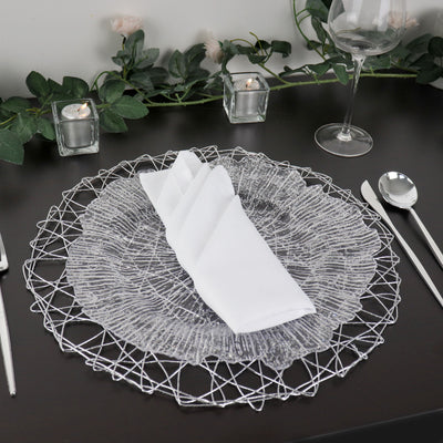 "6 Pack | 15"" Silver Metallic String Woven Placemats 