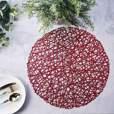 6 Pack | 15 inch Red Round Woven Vinyl Placemats | Non Slip Dining Table Placemats