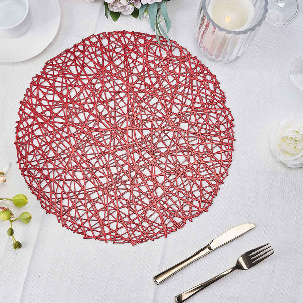 "6 Pack | 15"" Red Round Woven Vinyl Placemats 