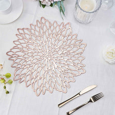 6 Pack | 15 inch Floral Vinyl Placemats | Non Slip Dining Table Placemats - Rose Gold | Blush