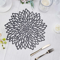 6 Pack | 15 inch Black Floral Vinyl Placemats | Non Slip Dining Table Placemats