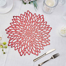 6 Pack | 15 inch Red Floral Vinyl Placemats | Non Slip Dining Table Placemats