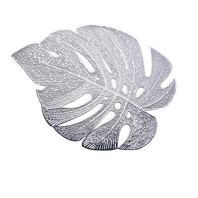 6 Pack | 17.5 inch Silver Monstera Leaf Placemat, Metallic Dining Table Mats