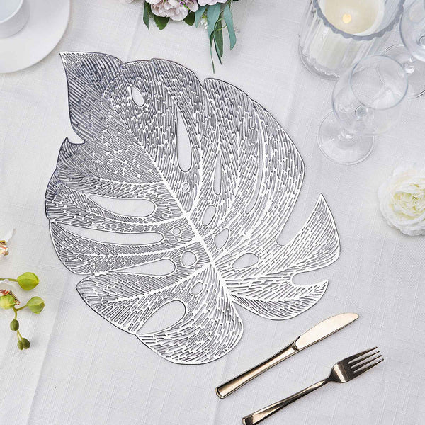 "6 Pack | 18"" Silver Monstera Leaf Placemat, Metallic Dining Table Mats"