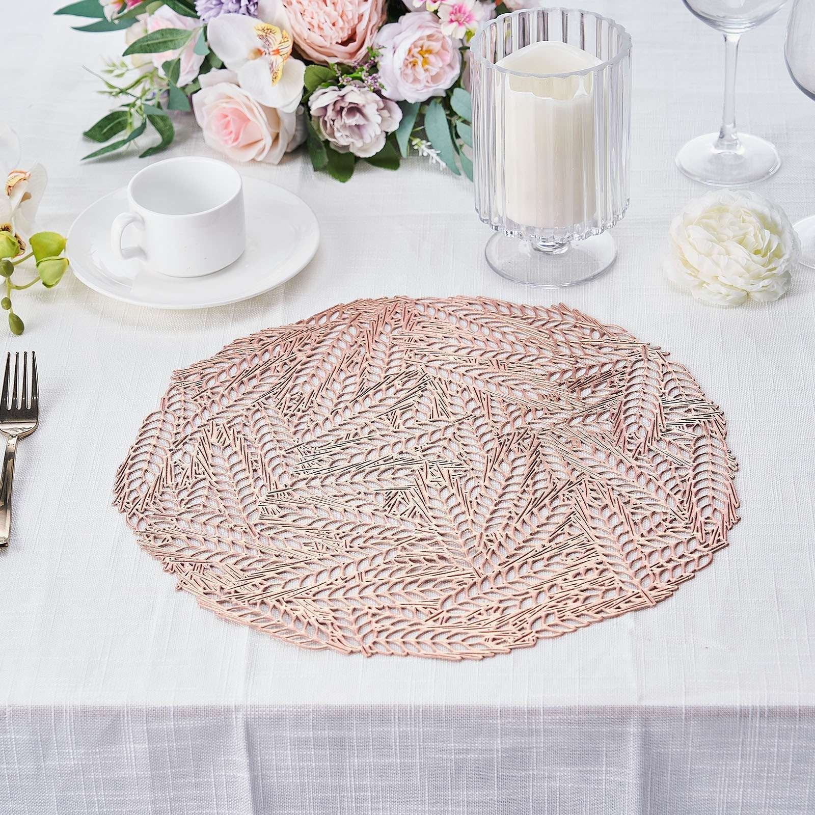 6 Pack 15 Non Slip Vinyl Placemats Geometric Table Placemats With Wheat Design Rose Gold Blush Tableclothsfactory