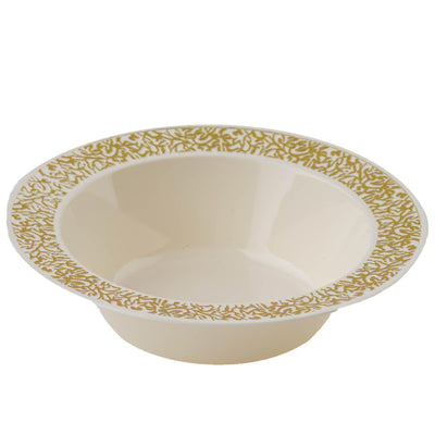 10 Pack | 6 Oz Ivory Round Disposable Bowls | Mini Plastic Dessert Bowls | Gold Lace Design Rim