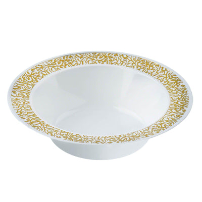 10 Pack 6oz White with Gold Trimmed Rim Plastic Round Disposable Bowl