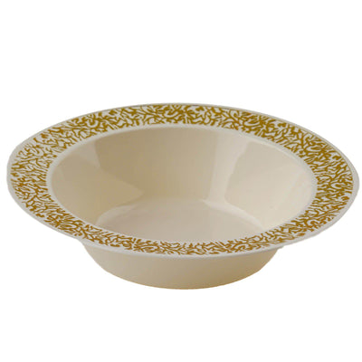 10 Pack Ivory 12oz Plastic Round Disposable Bowl with Gold Lace Design Rim