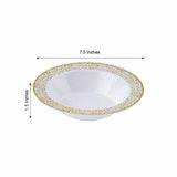 10 Pack 12oz White with Gold Trimmed Rim Plastic Round Disposable Bowl
