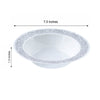 10 Pack 12oz White with Silver Trimmed Rim Plastic Round Disposable Bowl