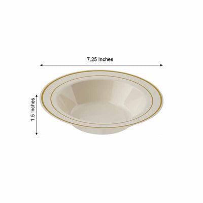 10 Pack 12oz Ivory with Gold Rim Round Disposable Bowl