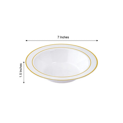 10 Pack 12oz White with Gold Rim Plastic Round Disposable Bowl