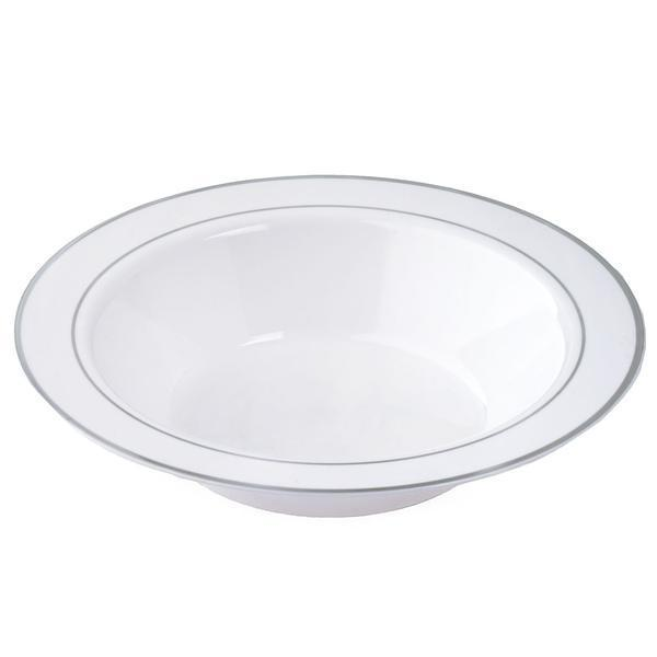10 Pack 12oz White with Silver Rim Plastic Round Disposable Bowl