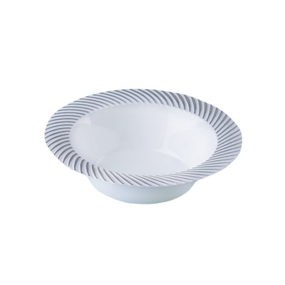10 Pack 6oz White with Silver Twirl Rim Plastic Round Disposable Bowl
