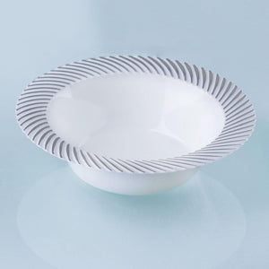 10 Pack White 6oz Plastic Round Disposable Bowl with Silver Twirl Rim